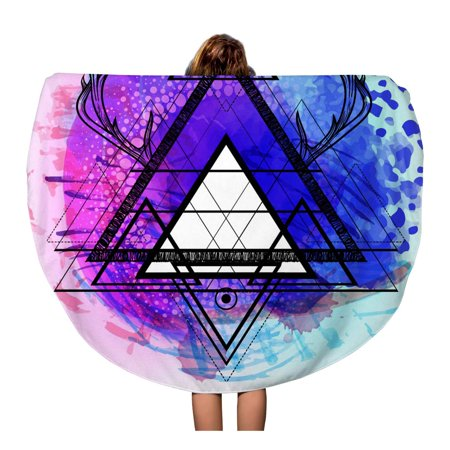 KDAGR 60 inch Round Beach Towel Blanket Hipster Mystic Sacred Geometry Boho Chic Magic Indigo Spaces Travel Circle Circular Towels Mat Tapestry Beach Throw