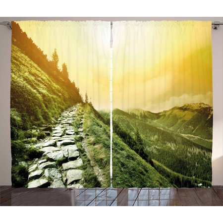 Inspirational Curtains 2 Panels Set  Mountain Valley Path Of Life Alone Zen Dawn Summer Landscape  Window Drapes For Living Room Bedroom  108W X 90L Inches  Olive Green Light Yellow  By Ambesonne