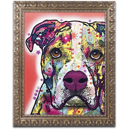 Trademark Fine Art   American Bulldog   Canvas Art By Dean Russo  Gold Ornate Frame