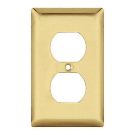 - Pass and Seymour SB8-PB Polished Brass Single Gang Duplex Receptacle Wall Plate