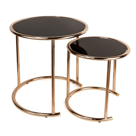 Danya B. Set of 2 Nested Round End Tables with Black Glass-top and Rose Gold Metal