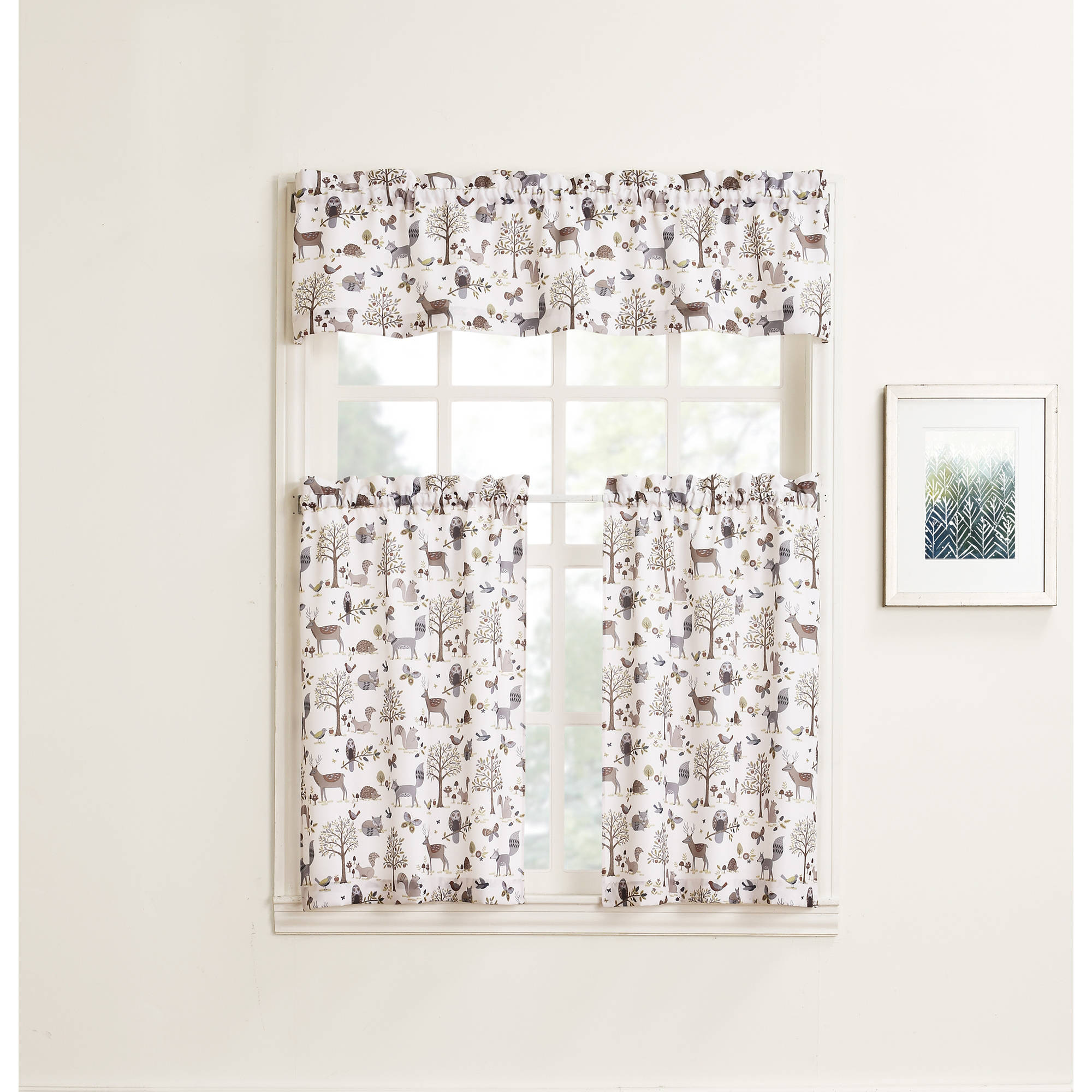 918 Forest Friends Kitchen Curtains, Set Of 2 Or Valence