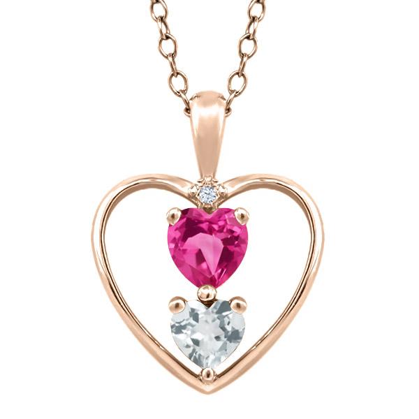 0.69 Ct Heart Shape Pink Mystic Topaz Sky Blue Aquamarine 18K Rose Gold Pendant by