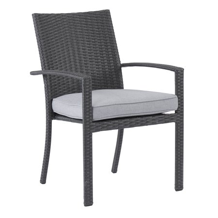 Better Homes & Gardens Long Ridge 2-Piece Patio Wicker Dining Chairs Set with Gray Cushions ()