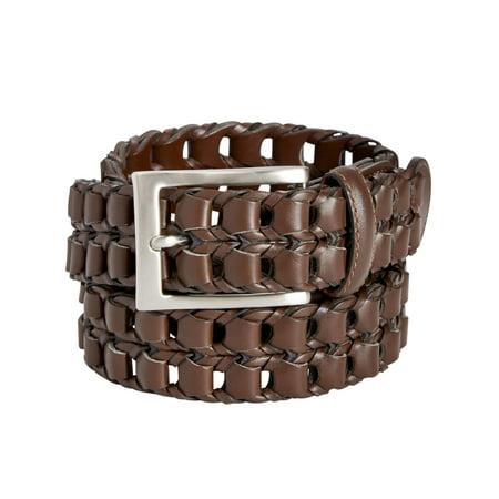 Perry Ellis Portfolio Mens Leather Buckle Braided Belt