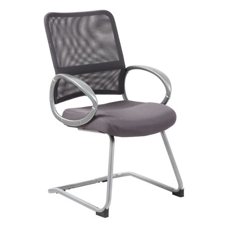 Boss Office Products Mesh Back W/ Pewter Finish Guest Reception Waiting Room Chair, Multiple