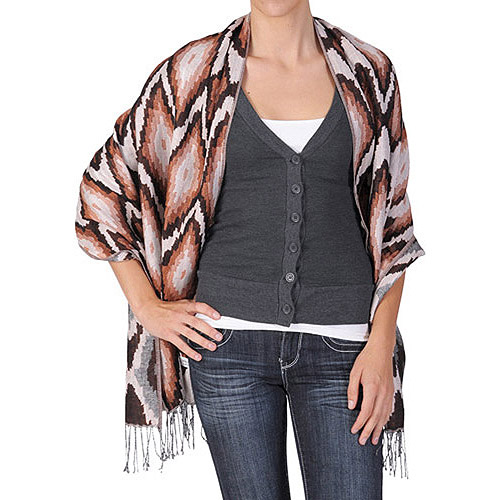 Brinley Co Womens Diamond Print Fringed Pashmina Shawl