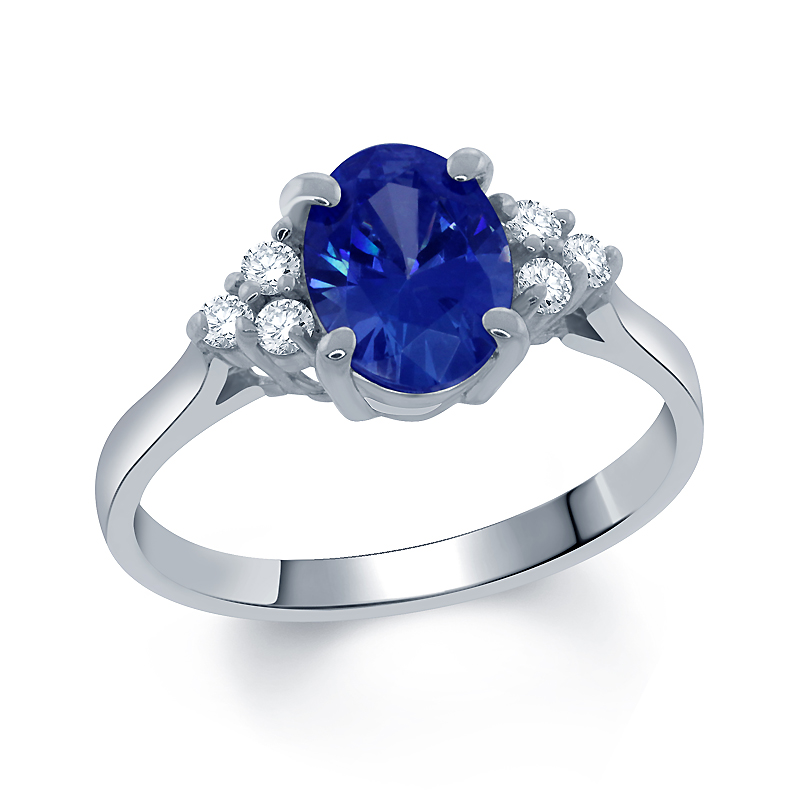 0.85 Ct Fancy Blue 925 Sterling Silver Ring Made With Swarovski Zirconia