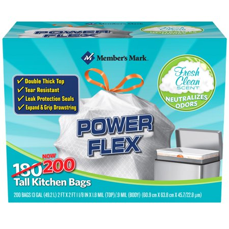 Members Mark Power Flex Tall Kitchen Simple Fit Drawstring Bags  13 Gal   200 Ct     Trash Bags