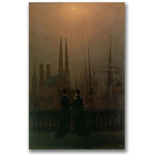 "Trademark Fine Art ""Harbor at Night"" Canvas Wall Art by Caspar David Friedrich"