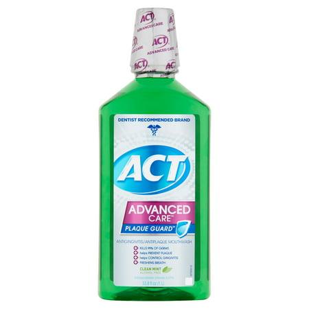 Act Advanced Care Plaque Guard Clean Mint Antigingivitis Antiplaque Mouthwash  33 8 Fl Oz