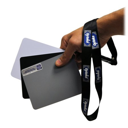 Opteka Medium 5 X 4 inches Color and White Balance Reference Grey Card Set With Quick Release Neck Strap for Digital
