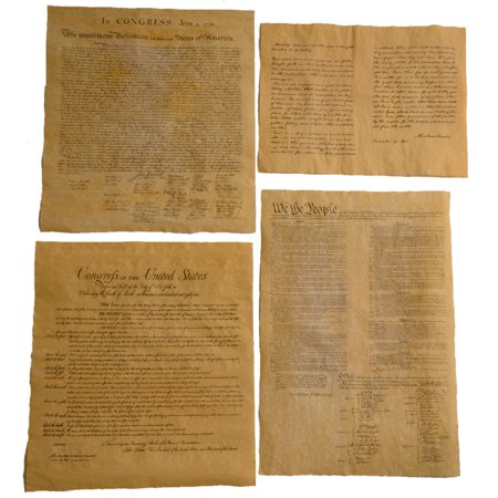 4 Antiqued Parchment Paper US Historical Posters Bill of Rights ()