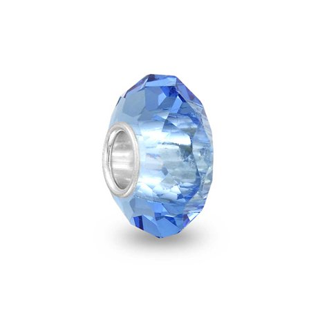 Bling Jewelry Blue Faceted Crystal Simulated Topaz Glass .925 Sterling Silver Charm Bead