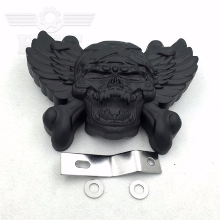 HTT-MOTOR Motorcycle Black Skull Zombie with Wing Cross Bone Horn Cover For 1992-2005 2006 2007 2008 2009 2010 2011 2012 2013 2014 2015 Harley Davidson with Side Mount