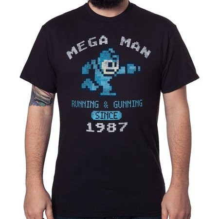 Mens Pixelated Mega Man Short Sleeve Graphic T-Shirt (Black Running & Gunning,