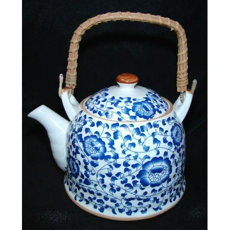 Flower Teapot (Blue Teapot w/ Flower Pictures)