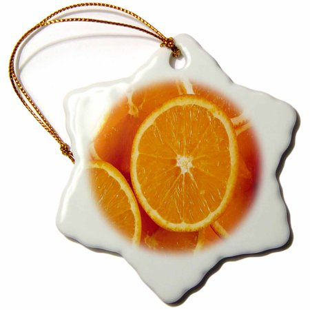 0.25 Slice - 3dRose Fresh Orange Slices, Snowflake Ornament, Porcelain, 3-inch