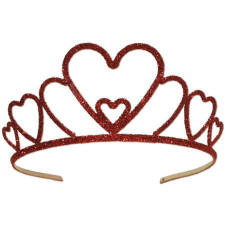 Beistle 70630 Glittered Metal Heart Tiara, 1 Per Package