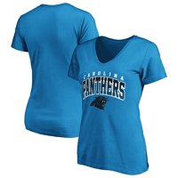 Women's Fanatics Branded Blue Carolina Panthers Faded Arch V-Neck T-Shirt
