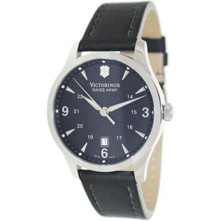 Swiss Army 241474 Men's Alliance Black Dial Black Leather Strap Swiss Watch