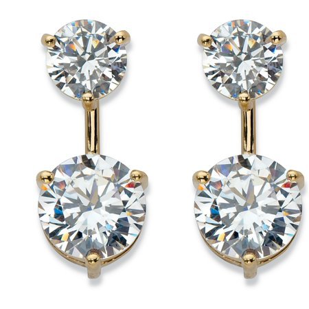 Round Cubic Zirconia 2-in-1 Stud and Drop Earrings 5.96 TCW in 14k Gold over Sterling Silver Cubic Zirconia Round Drop Earrings