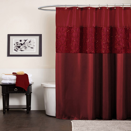 Maria Red Shower Curtain by Triangle Home Fashions