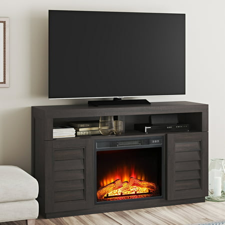 Better Homes & Gardens Ellis Shutter Media Fireplace for TVs up to 70 & 135 lbs Dark Oak -