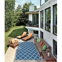 Nourison Home & Garden Geometric Transitional Navy Indoor/outdoor Area Rug