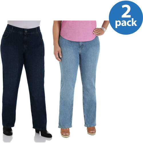 Riders by Lee Women's Plus-Size Relaxed Fit Straight-Leg Jeans 2-Pack Value Bundle, Petite, Medium & Long