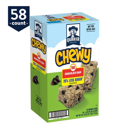 Quaker Chewy Granola Bars, 25% Less Sugar Chocolate Chip, 58 Ct.