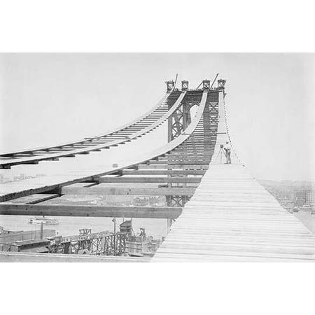 Temporary foot path atop Manhattan Bridge New York Poster Print
