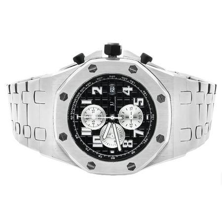 a4aad43aaf60 Jewelry Unlimited - Men s White Gold Solid Steel Black Dial AP Watch -  Walmart.com