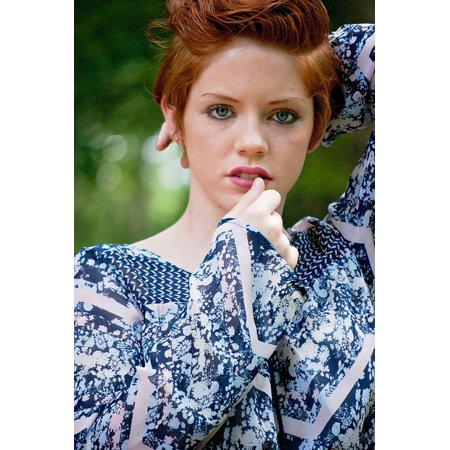 LAMINATED POSTER Portrait Blue Eyes Redhead Girl Face Short Hair Poster Print 11 x