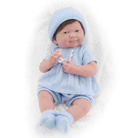8884403fd Berenguer Boutique La Newborn with Brown Hair in Blue Knit Outfit ...