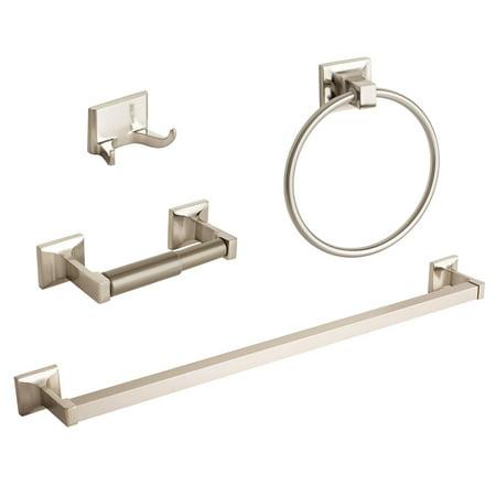 - 4 Pcs Brushed Nickel Bathroom Hardware Accessory Set Towel Bar Hook Ring Holder
