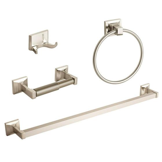 Average Height Of Towel Bar In Bathroom: 4 Pcs Brushed Nickel Bathroom Hardware Accessory Set Towel