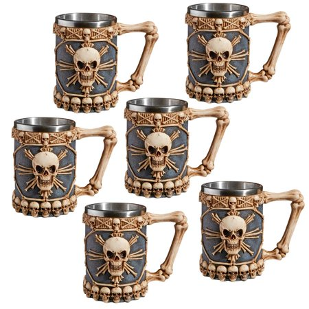 Engraved Tankard (Design Toscano Skullduggery Tankard Mug: Set of)