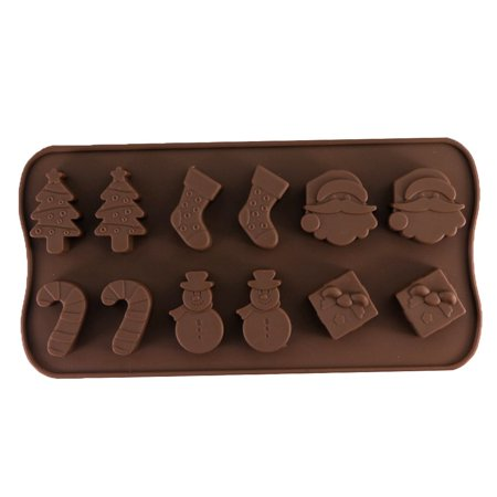 Flying Outlets Christmas Chocolate Mold Snowman Socks Trees Silicone Cake Mould Candy - Christmas Cake Molds