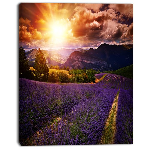 Design Art 'Beautiful Sunset Over Lavender Field' Photographic Print on Wrapped Canvas