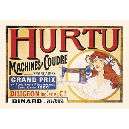 Hurtu in Montlucon started in 1861 making sewing machines but slowly changed to manufacture bicycles and eventually cars in France  This is one of their early advertising posters for the sewing machin Hurtu, in Montlucon, started in 1861 making sewing machines but slowly changed to manufacture bicycles and eventually cars in France.  This is one of their early advertising posters for the sewing machine. was reproduced on Premium Heavy Stock Paper which captures all of the vivid colors and details of the original.Brand New and Packaged carefully in a oversized protective tube.  This item Ships Rolled to insure maximum protection.Print Title: Hurtu, in Montlucon, started in 1861 making sewing machines but slowly changed to manufacture bicycles and eventually cars in France.  This is one of their early advertising posters for the sewing machine.Product Type: Fine Art PrintArtist:   unknown