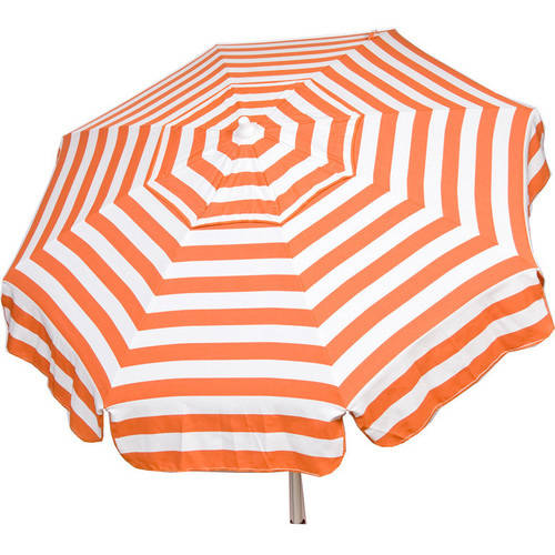 DestinationGear Italian 6' Umbrella Acrylic Stripes Orange and White Patio Pole