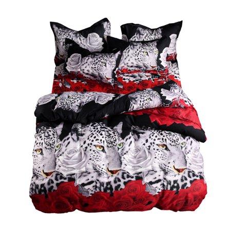 3pcs/set King Bedding Set 3D Animal Leopard & Rose Printed Pattern Duvet Cover with 2pcs Pillowcase Bedclothes Bedroom Decor