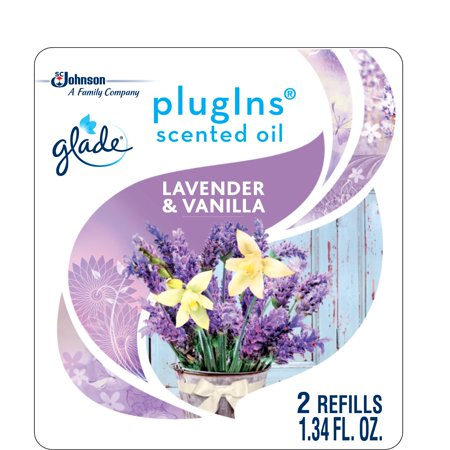 Glade PlugIns Scented Oil Refill Lavender & Vanilla, Essential Oil Infused Wall Plug In, Up to 50 Days of Continuous Fragrance, 1.34 oz, Pack of 2