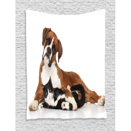 Animal Decor Wall Hanging Tapestry, Cat And Dog Together Lying On The Floor Cute Couple Real Friendship Kitty Portrait, Bedroom Living Room Dorm Accessories, By Ambesonne](Cute Couple Accessories)