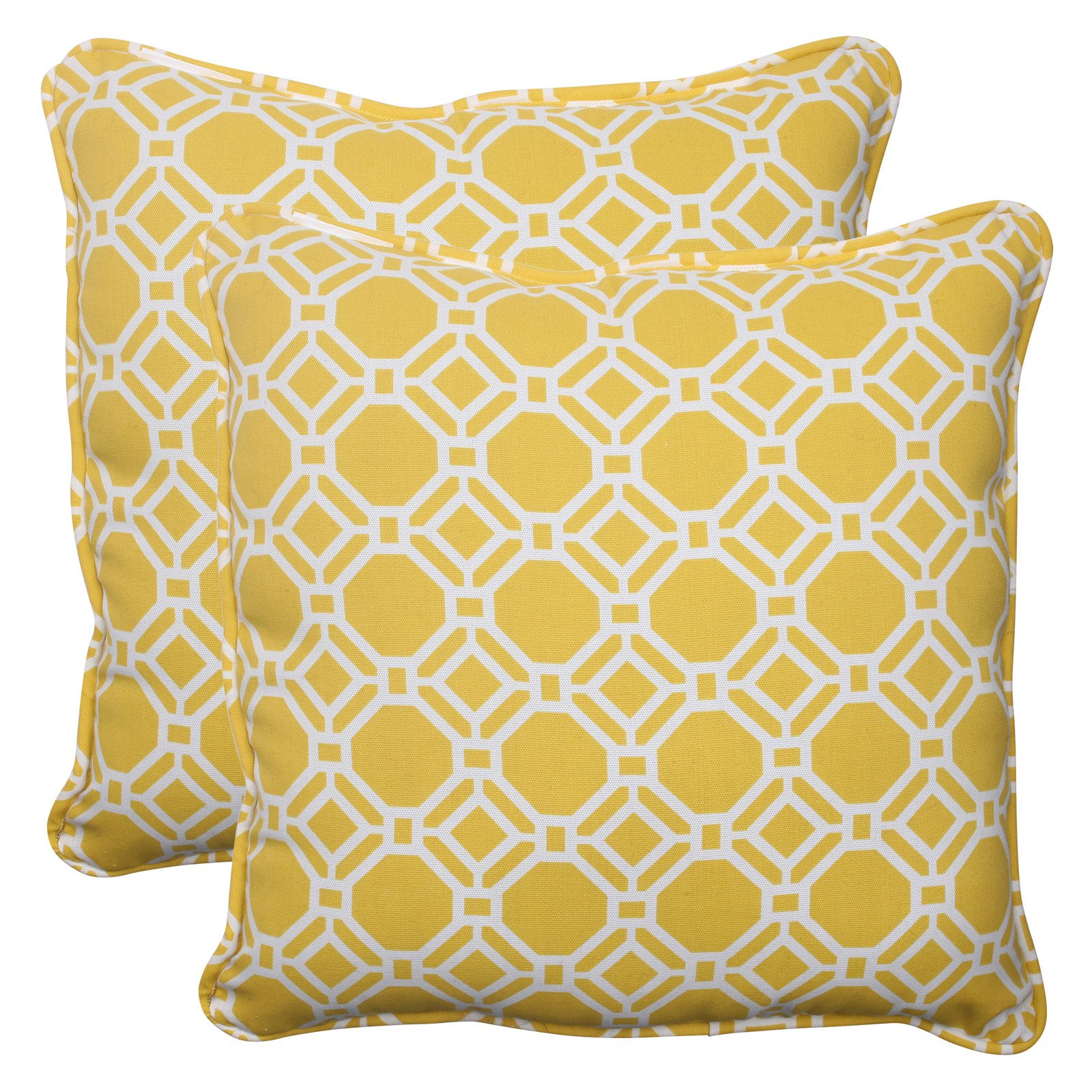 Pillow Perfect Outdoor/ Indoor Rossmere Yellow 18.5-Inch Throw Pillow (Set of 2)