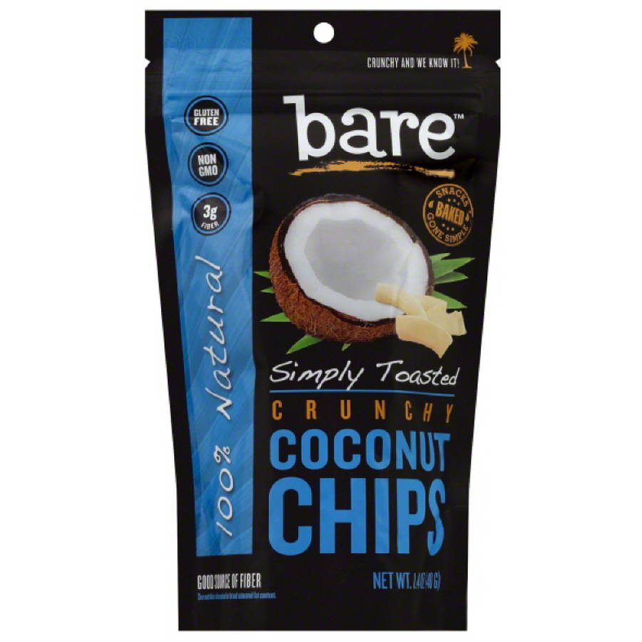 bare Simply Toasted Crunchy Coconut Chips, 1.4 oz, (Pack of 12)