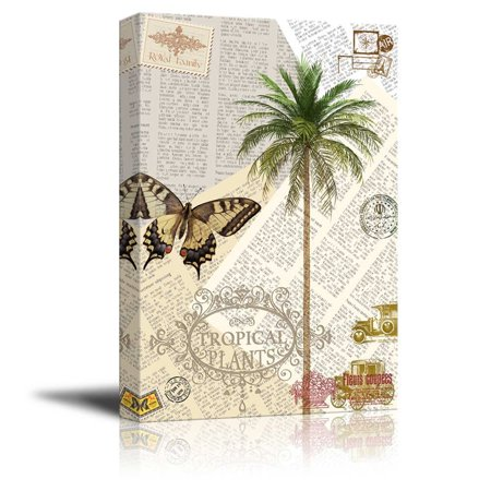 wall26 Canvas Wll Art - Palm Trees and Butterfly on Vintage Newspaper Background - Giclee Print and Stretched Ready to Hang - 16