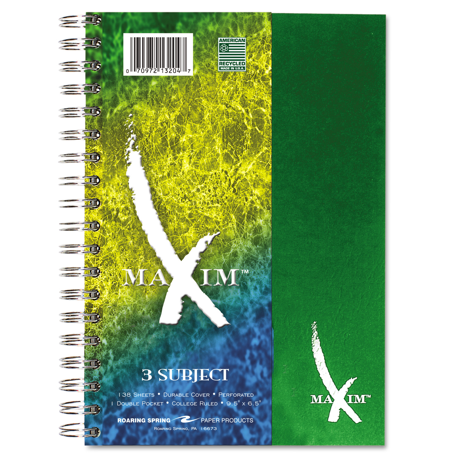 Roaring Spring Maxim Notebook, College Rule, 9 1/2 x 6 1/2, 3 Subject, 138 Sheets, Assorted
