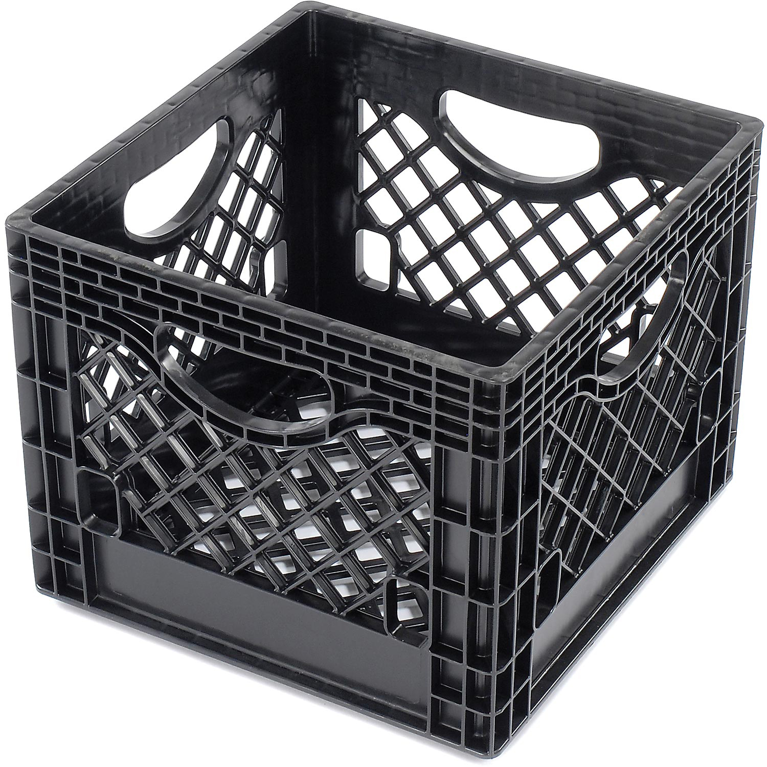 "Dairy Milk Crate w/ Mesh Sides & Base, Black, 13""L X 13""W X 11""H, Lot of 1"